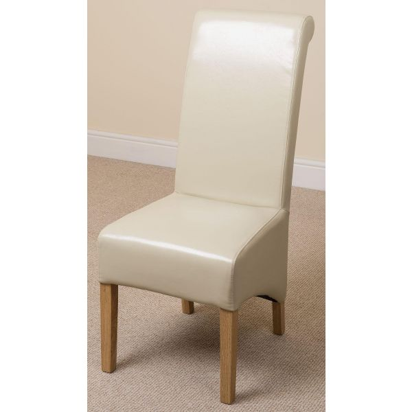 Montana ivory Leather dining chair front left angle