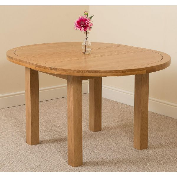 Edmonton Round Oak Dining Set with 6 Washington Beige Fabric Chairs
