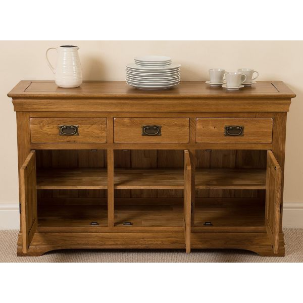 French Chateau Rustic Furniture Solid Oak Large Sideboard - drawers open