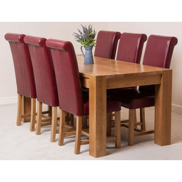 Kuba Solid Oak 220cm Dining Table with 6 Washington Dining Chairs [Burgundy Leather]