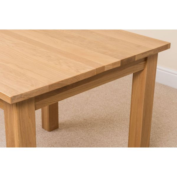 Oslo Solid Oak Dining Table with 4 Princeton Solid Oak Dining Chairs [Light Oak and Brown Leather]