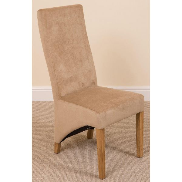 Beige Fabric Lola Dining chairs - diagonal