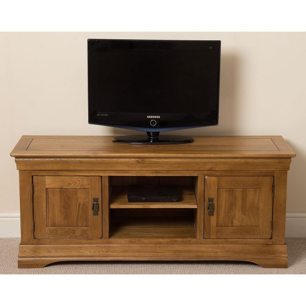 French Chateau Rustic Solid Oak Widescreen TV Unit