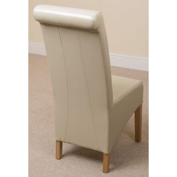 Montana ivory Leather dining chair back angle