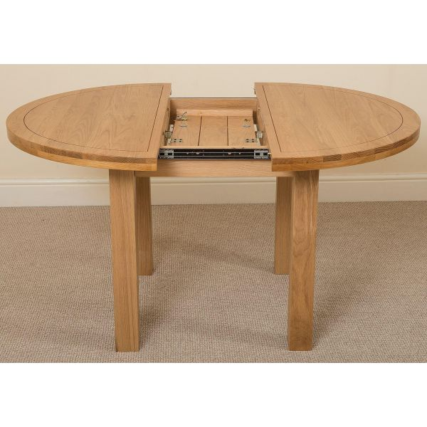 Edmonton Solid Oak Extending Oval Dining Table with 4 Lola Dining Chairs [Ivory Leather]