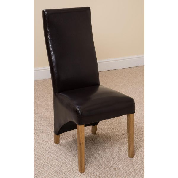 Lola Curved Back Leather Dining Chair [Brown]