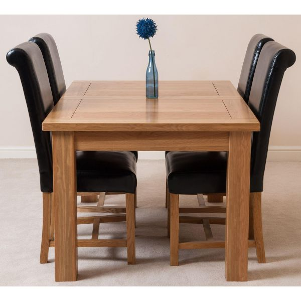 Seattle Solid Oak 150cm-210cm Extending Dining Table with 4 Washington Dining Chairs [Black Leather]