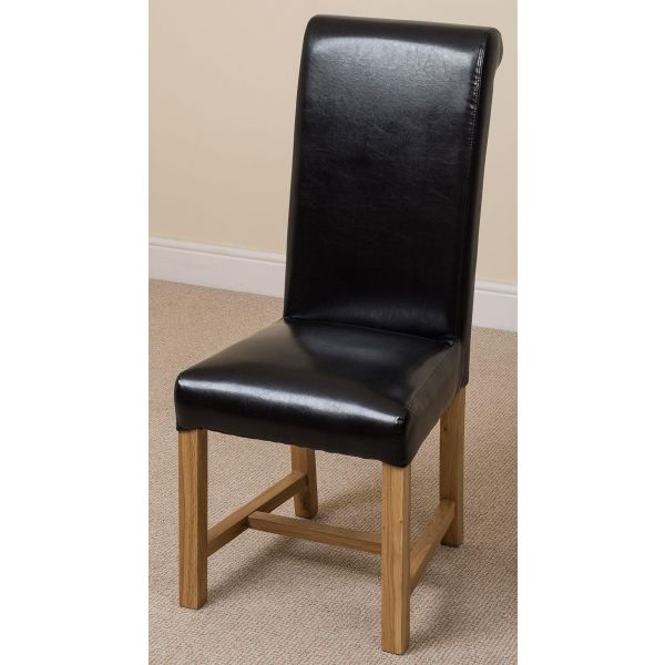 Washington black leather dining chair front left angle