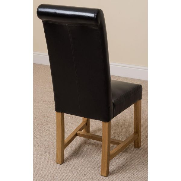 Washington black leather dining chair back angle