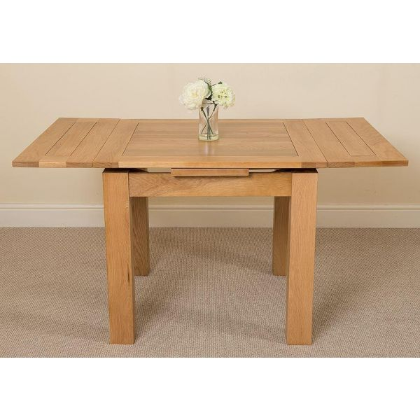Richmond Solid Oak 90cm-150cmExtending Dining Table with 4 Stanford Solid Oak Dining Chairs [Light Oak and Grey Fabric]