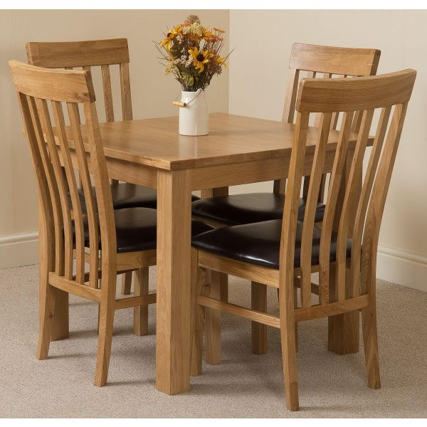 Oslo Solid Oak Dining Table with 4 Harvard Solid Oak Dining Chairs [Light Oak and Brown Leather]