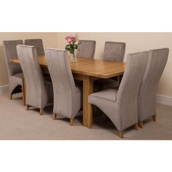 Seattle Solid Oak 150cm-210cm Extending Dining Table with 8 Lola Dining Chairs [Grey Fabric]
