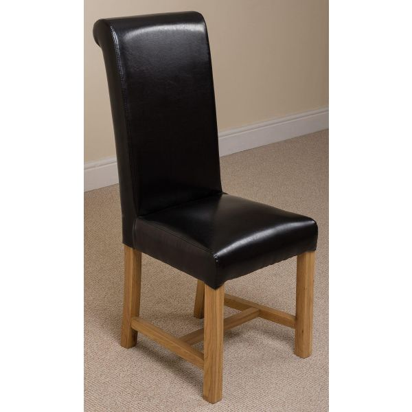 Washington black leather dining chair front right angle