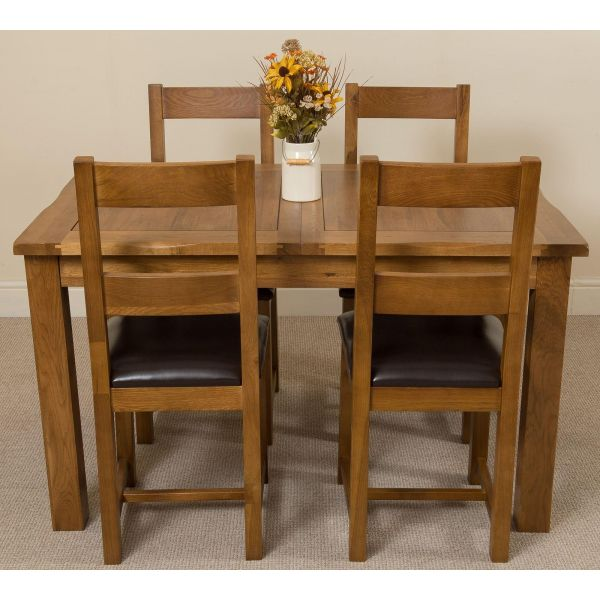 Cotswold Solid Oak Dining Table with 4 Lincoln Dining Chairs Dining Set Bacl