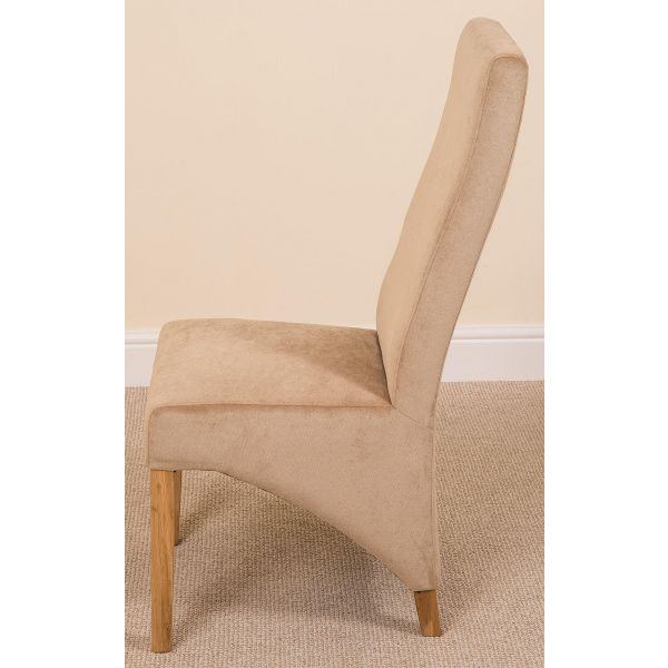 Beige Fabric Lola Dining chairs - Side