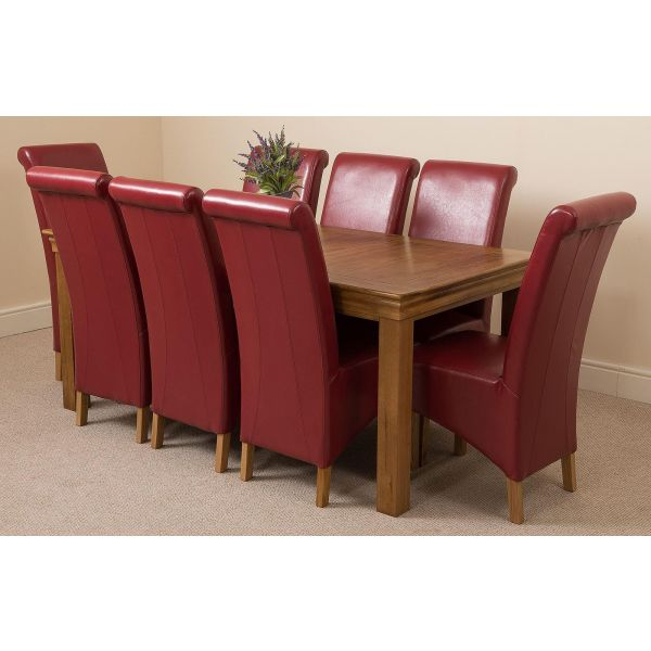 French Chateau Rustic Solid Oak 180cm Dining Table with 8 Montana Dining Chairs [Burgundy Leather]