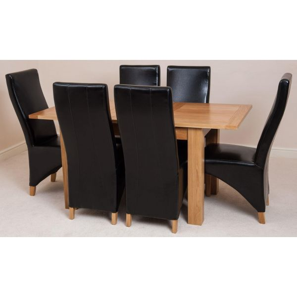 Hampton Solid Oak 120-160cm Extending Dining Table with 6 Lola Dining Chairs [Black Leather]