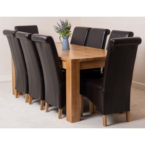 Kuba Solid Oak 180cm Dining Table with 8 Montana Dining Chairs [Brown Leather]