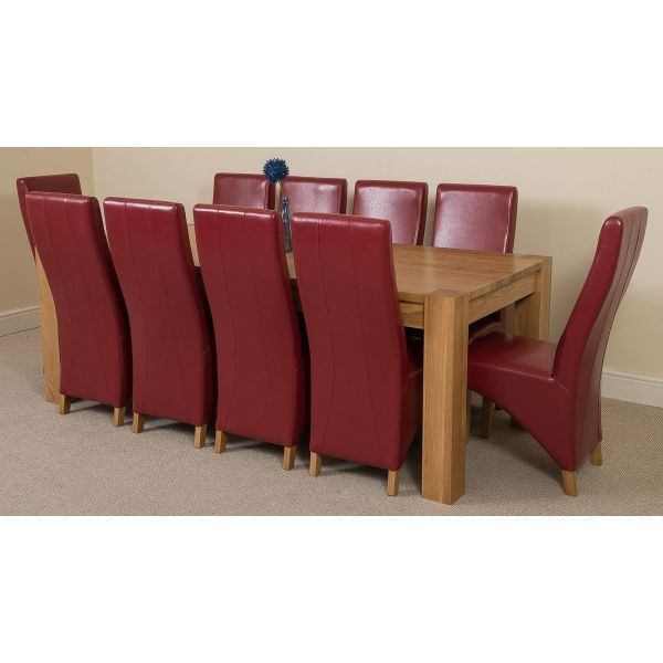 Kuba Solid Oak 220cm Dining Table with 10 Lola Dining Chairs [Burgundy Leather]