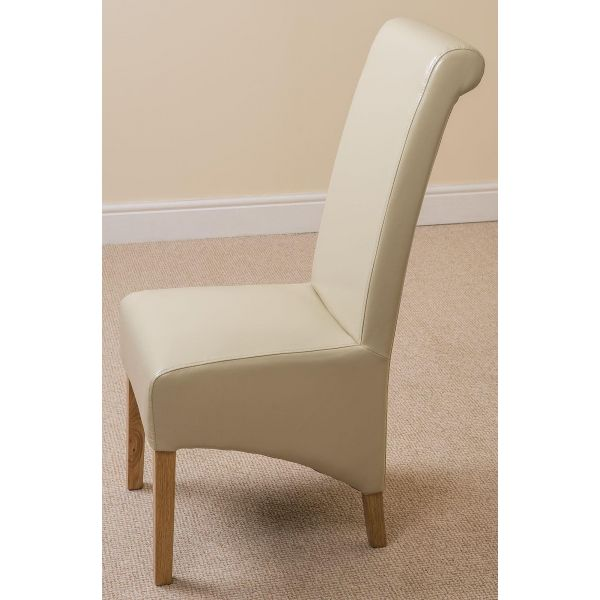 Montana ivory Leather dining chair side view