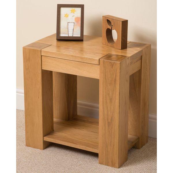 kuba Solid Oak lamp table left angle
