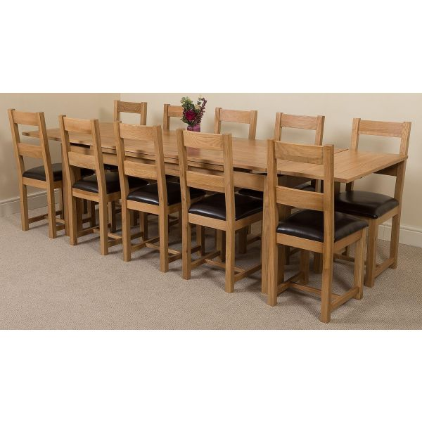Richmond Solid Oak 200cm-280cm Extending Dining Table with 10 Lincoln Solid Oak Dining Chairs [Light Oak and Brown Leather]