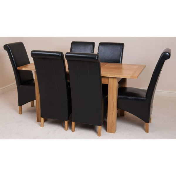 Hampton Solid Oak 120-160cm Extending Dining Table with 6 Montana Dining Chairs [Black Leather]