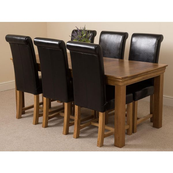 French Chateau Rustic Solid Oak 180cm Dining Table with 6 Washington Dining Chairs [Black Leather]