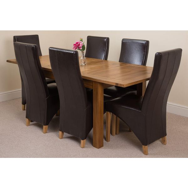 Cotswold Rustic Solid Oak 132cm-198cm Extending Farmhouse Dining Table with 6 Lola Dining Chairs [Brown Leather]