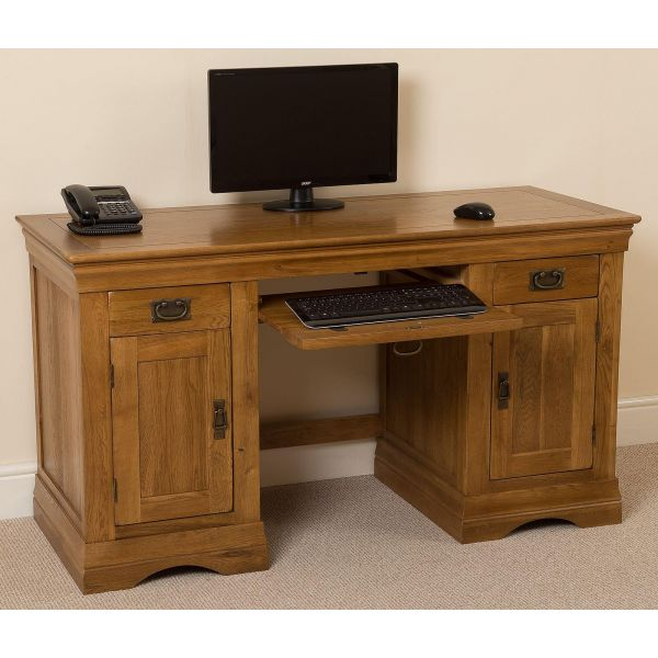 French Chateau Rustic Solid Oak Computer Desk - Left