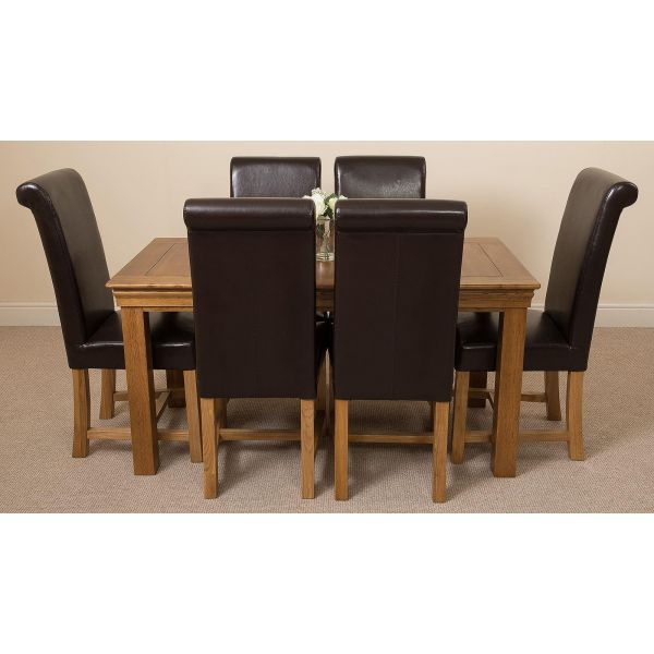 French Chateau Rustic Solid Oak 150cm Dining Table with 6 Washington Dining Chairs [Brown Leather]