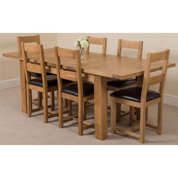 Seattle Solid Oak 150cm-210cm Extending Dining Table with 6 Lincoln Solid Oak Dining Chairs [Light Oak and Brown Leather]
