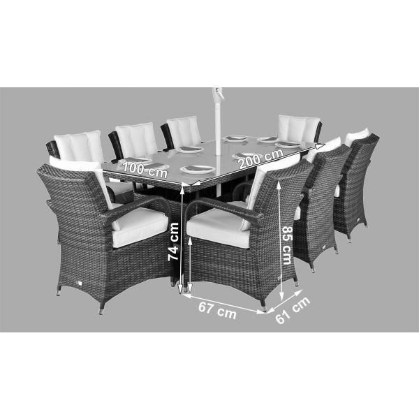 Arizona Rattan Garden Furniture 8 Seat Dining Set - Dimensions
