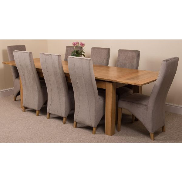 Richmond Solid Oak 200cm-280cm Extending Dining Table with 8 Lola Dining Chairs [Grey Fabric]
