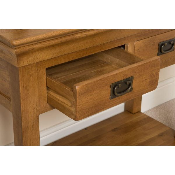 French Chateau Rustic Solid Oak Console Table