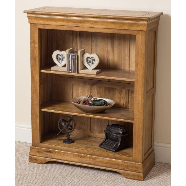 French Chateau Rustic Solid Oak Small Bookcase