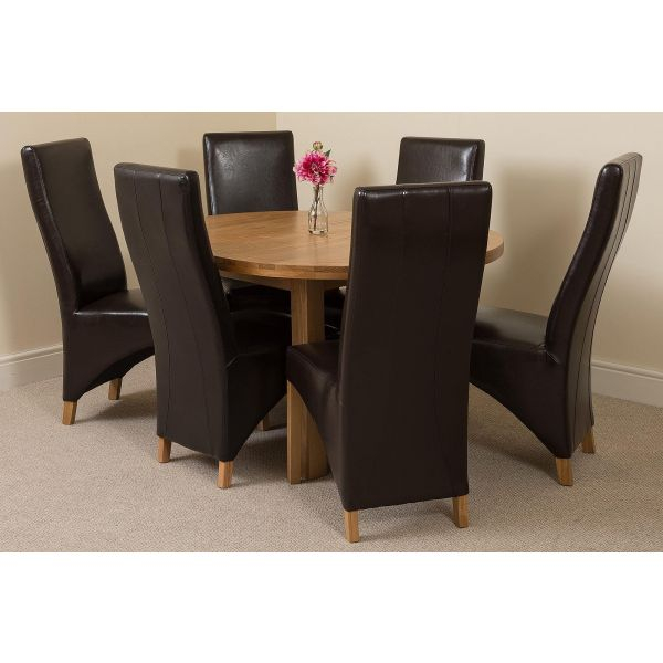 Edmonton Solid Oak 110cm Extending Oval Dining Table with 6 Lola Dining Chairs [Black Leather]