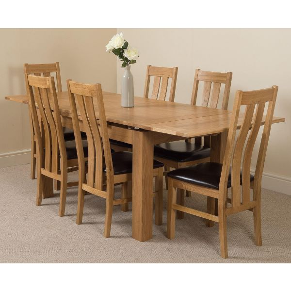 Richmond Solid Oak 140cm-220cm Extending Dining Table with 6 Princeton Solid Oak Dining Chairs [Light Oak and Brown Leather]