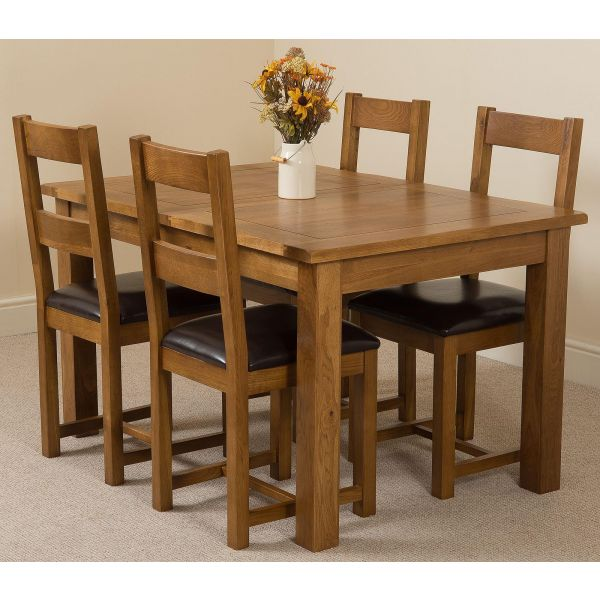 Cotswold Solid Oak Dining Table with 4 Lincoln Dining Chairs Dining Set