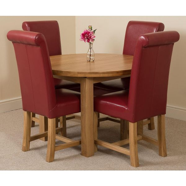 Edmonton Solid Oak Extending Oval Dining Table with 4 Washington Dining Chairs [Burgundy Leather]