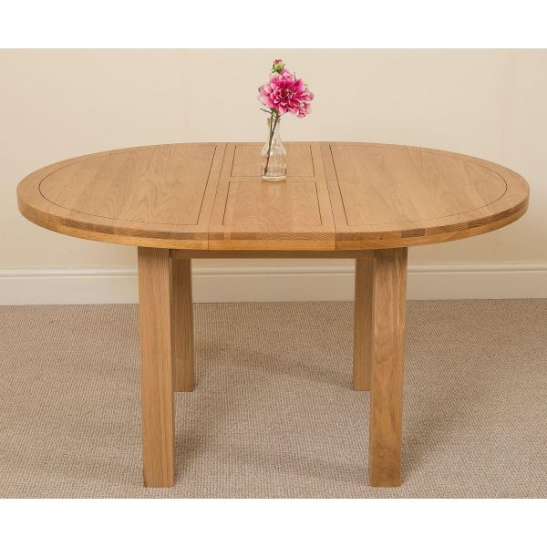 Edmonton Solid Oak 110cm Extending Oval Dining Table with 6 Washington Dining Chairs [Ivory Leather]