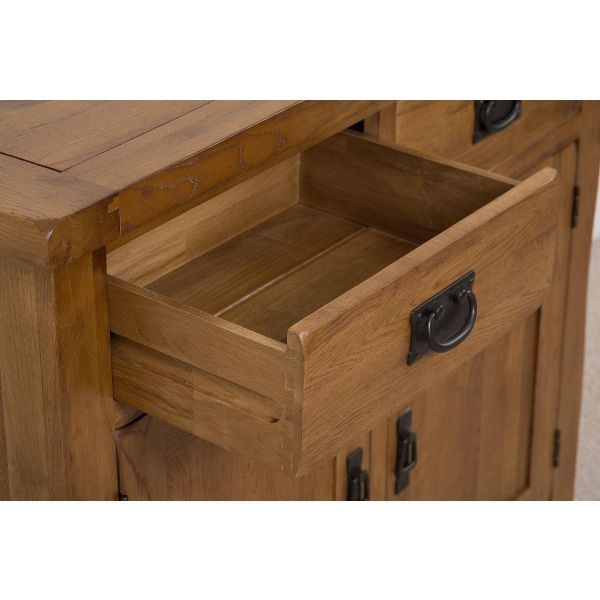 cotswold rustic small oak sideboard draw open
