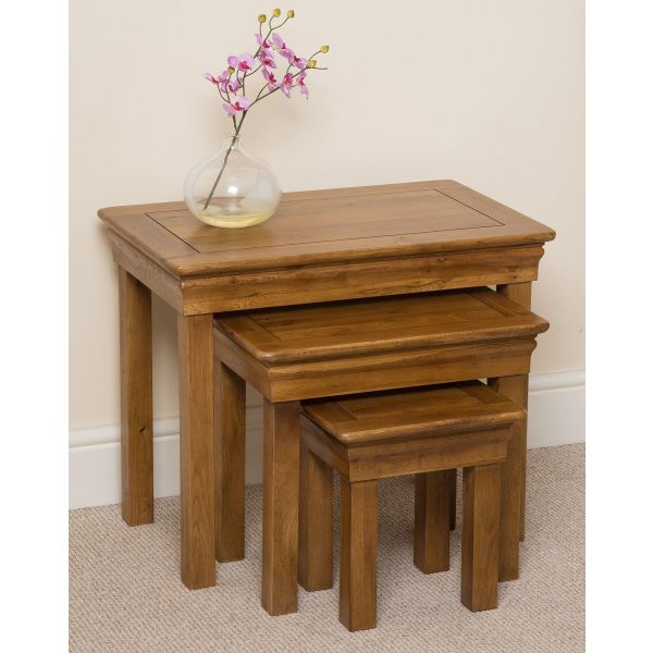 French Chateau Solid Oak Nest of Tables - Left