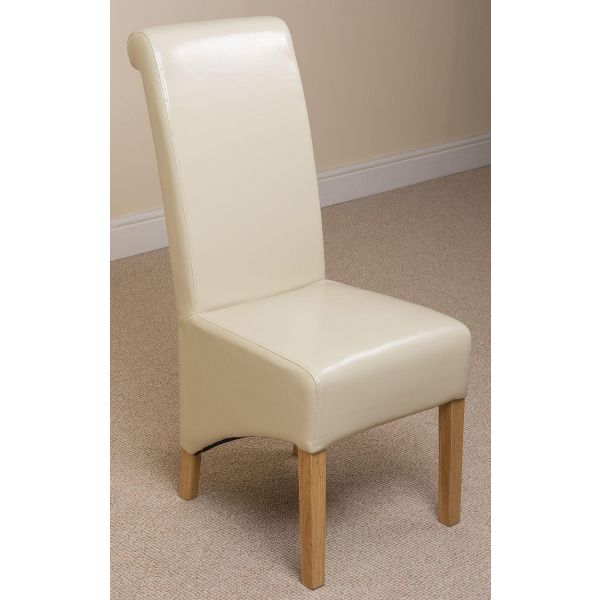 Montana ivory Leather  dining chair front right angle