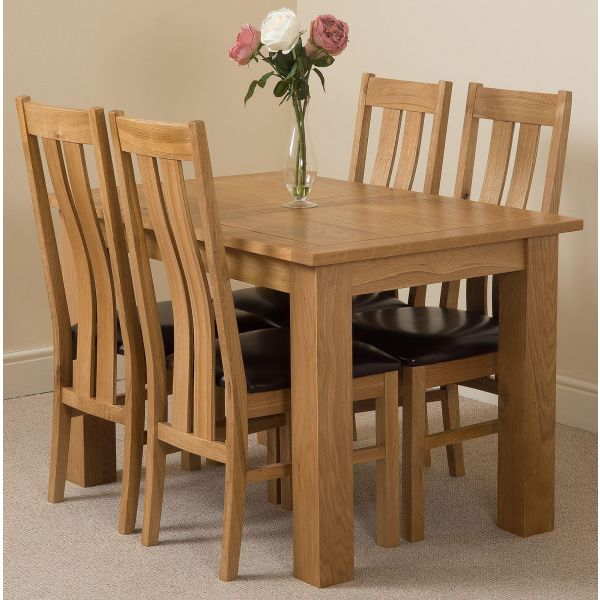 Hampton Solid Oak 120-160cm Extending Dining Table with 4 Princeton Solid Oak Dining Chairs [Light Oak and Brown Leather]
