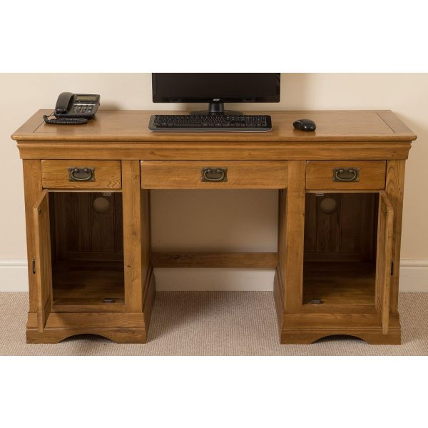 French Chateau Rustic Solid Oak Computer Desk - Front Drawers