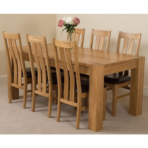 Kuba Solid Oak 180cm Dining Table with 6 Princeton Solid Oak Dining Chairs [Light Oak and Brown Leather]