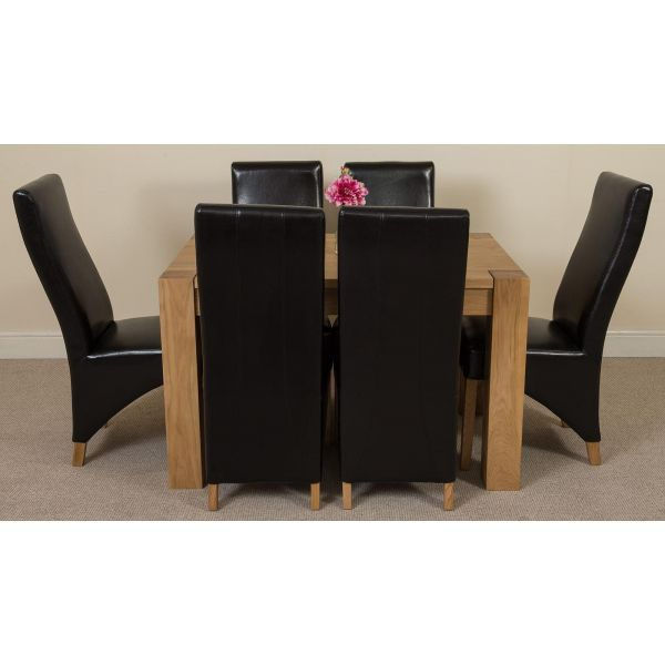 Kuba Solid Oak 125cm Dining Table with 6 Lola Dining Chairs [Black Leather]