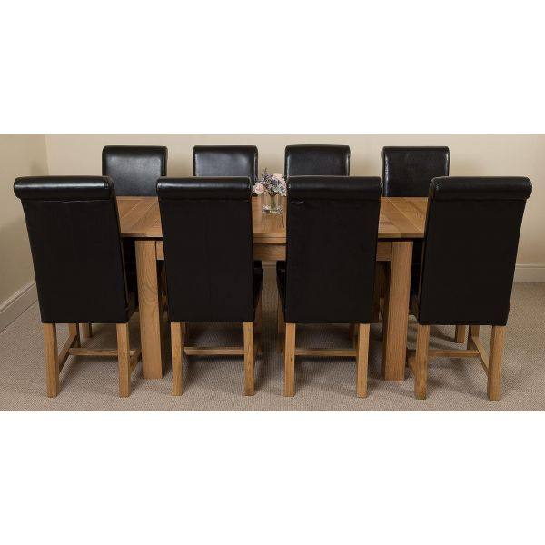 Richmond Solid Oak 140cm-220cm Extending Dining Table with 8 Washington Dining Chairs [Black Leather]