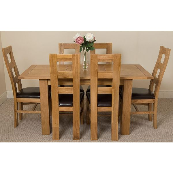 Hampton Small Oak Extending Dining Table with 6 Yale Oak Chairs
